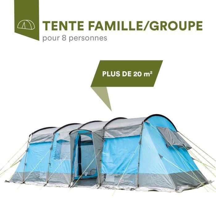 Skandika Hurricane 8 -Tente de camping tunnel familiale - 8 personnes - 650 x 310 cm - Bleu
