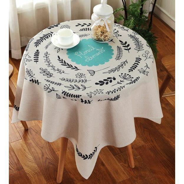 style 11 90 * 90 cm -Nappe de Table ronde en coton et lin, Imitation colorée de Style Pastoral américain, couverture décorative pour