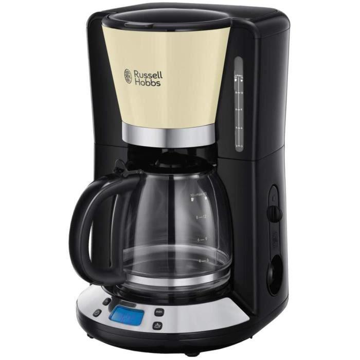Russell Hobbs Machine à Café, Cafetière Filtre 1,25L Programmable 24h, Affichage Digital, Maintien au Chaud - Crème 24033-56 Colours