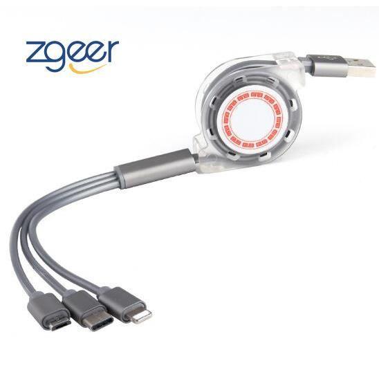 Câble Chargeur USB Enroulable, 3 en 1 Retractable Cable 2 Type C & 1 Micro USB Cable Multi Chargeur Cordon USB C Enrouleur Charge Ra