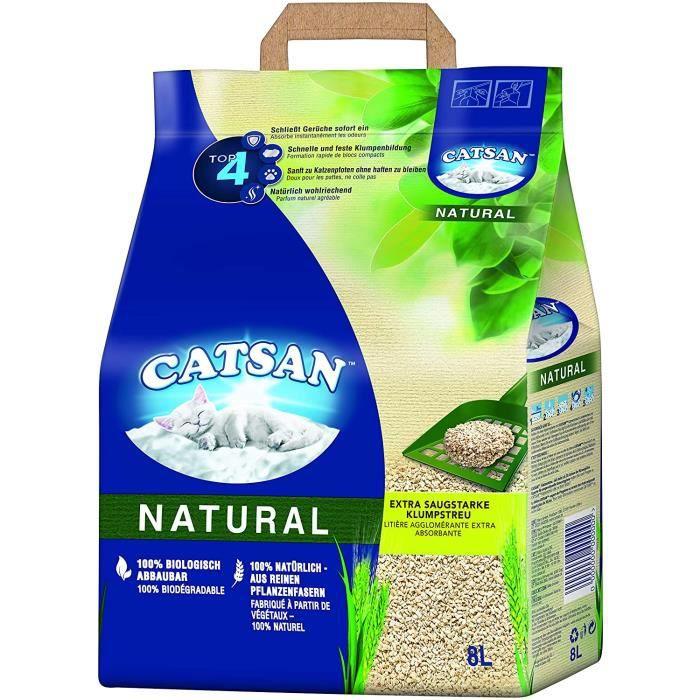 Catsan Natural – Litière agglomérante compostable pour Chat À 100 % en Fibres végétales