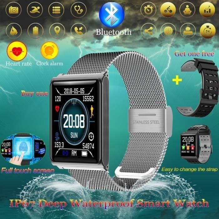 Montre étanche Fitness Tracker avec moniteur de tension artérielle de fréquence cardiaque Calories Podomètre Bracelet de mode