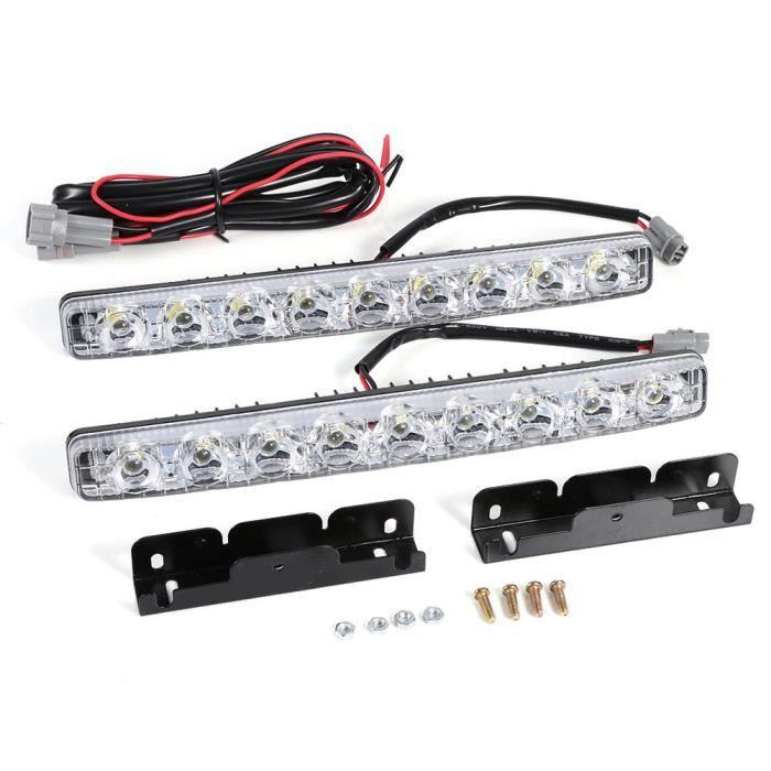 Sonew feu de jour 2pcs blanc 9-LED longue bande feux de jour DRL voiture brouillard jour lampe de conduite