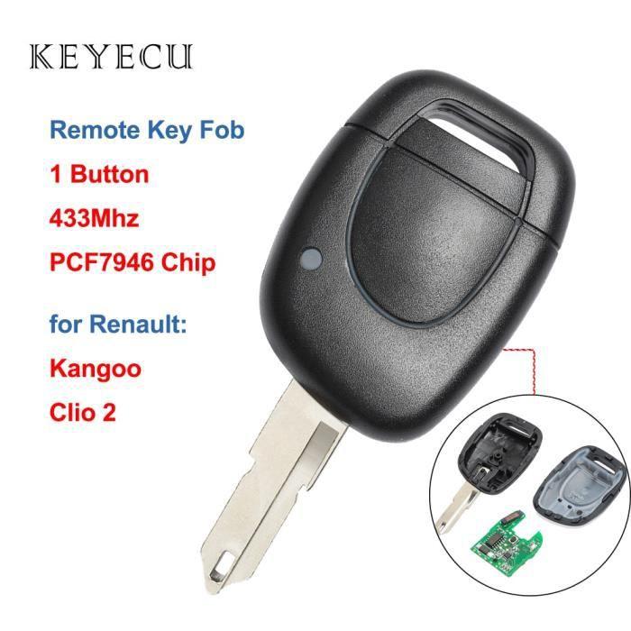 Coque clé,Keyecu porte clés de remplacement de voiture 1 bouton 433MHz avec puce PCF7946 pour Renault Clio 2 2002 2008, Kangoo 2002