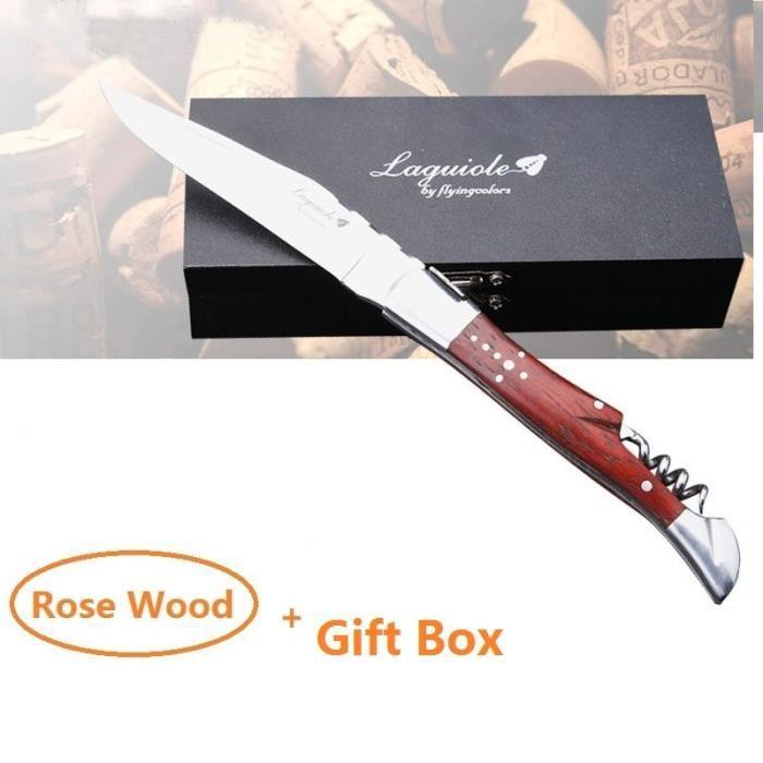Tire-Bouchon,Laguiole ouvre bouteille en acier inoxydable, couteau, manche en bois, Sommelier, bière - Type 21CM Rose Wood Box