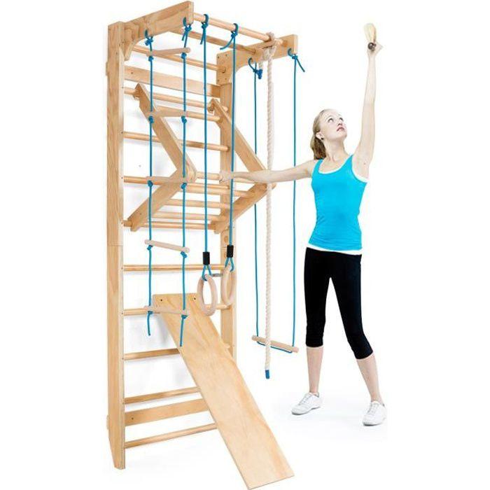 GIANTEX Espalier de Gym Mural en Bois Fiteness,Barre de Gymnastqiue Murale pour Adultes ou Enfants,Entrainement Musculaire