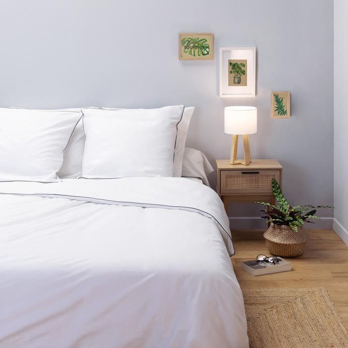 LOVELY HOME Parure de couette Satin de Coton 220x240cm Blanc