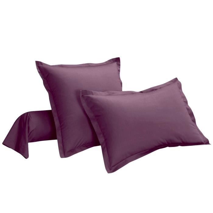 Taie d'oreiller coton PRUNE 63 x 63 cm