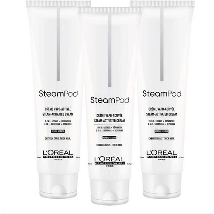 Pack TRIO Crème de Lissage Steampod Cheveux épais - 150 ml