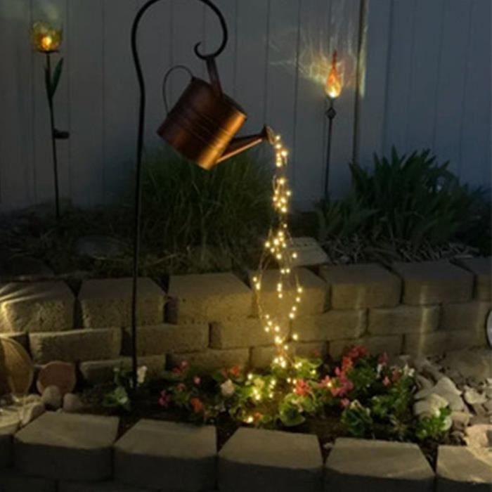 Lumières Extérieures de Jardin de Douche D'étoile Arrosoir Arrose Lumières, Lampes LED Solaires (Pot + Light+ support)