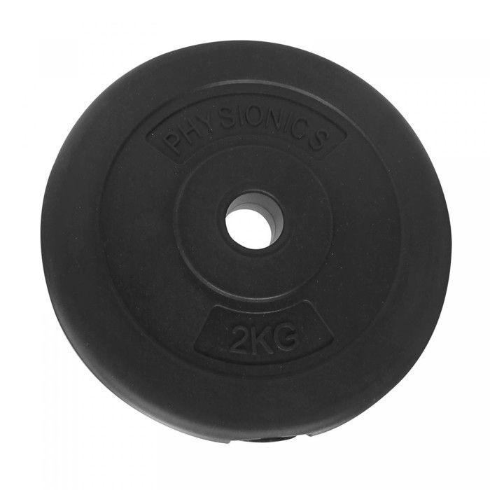 Physionics® Disques de Poids - Set de 2 x 2 kg, Ø 27 mm, avec Revêtement en Plastique - Plaques pour Haltères, Fitness, Musculation