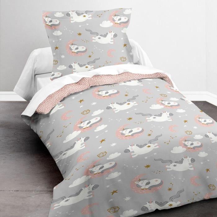 TODAY Parure de lit Enfant Kids First 1.12 - 1 personne - Housse de couette 140 x 200 et 1 taie d'oreiller 63 x 63 - Imprimé gris