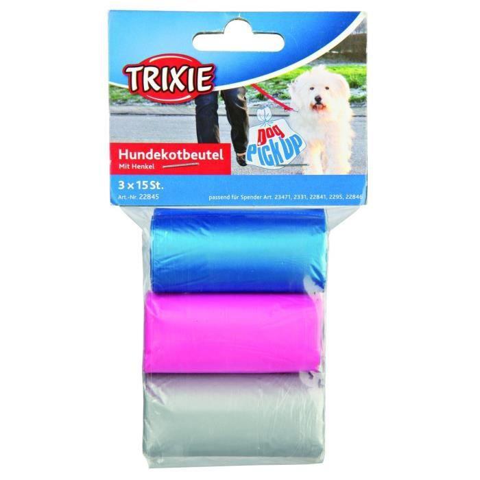 TRIXIE Dog Pick Up sacs ramasse crottes avec poignées M 3 rouleaux de 15 sacs assort pour chien