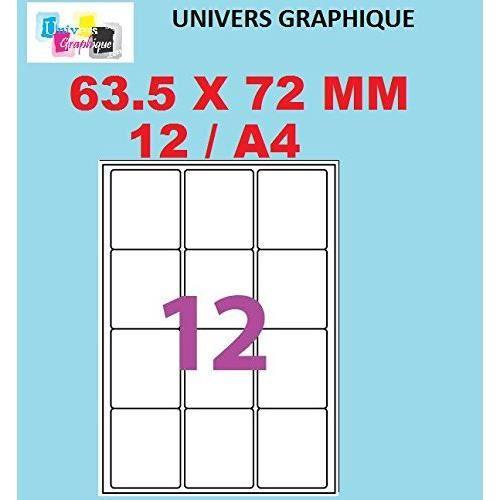 120 étiquettes 63.5 X 72 mm = 10 feuilles de 12 étiquettes autocollantes pour imprimante jet d'encre et Impression laser étiquette u