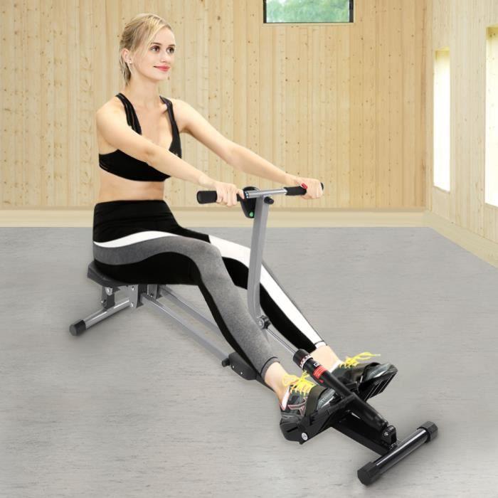 VGEBY® Rameur d'appartement - charge max. 120kg Pour fitness et cardio training -CYA