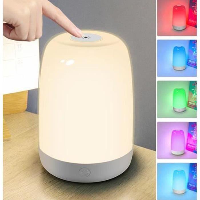 PT21420-Veilleuse LED, Lampe de Chevet Colorée à 360°, Lampe Nuit Rechargeable avec Toucher Luminosité Ajustable Télécommande po