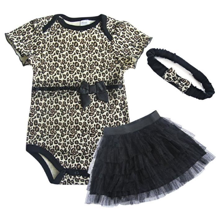Fashion boutik ensemble b b fille 3 pieces leopard bandeau body jupe 18m noir achat - Vetement bebe fille fashion ...