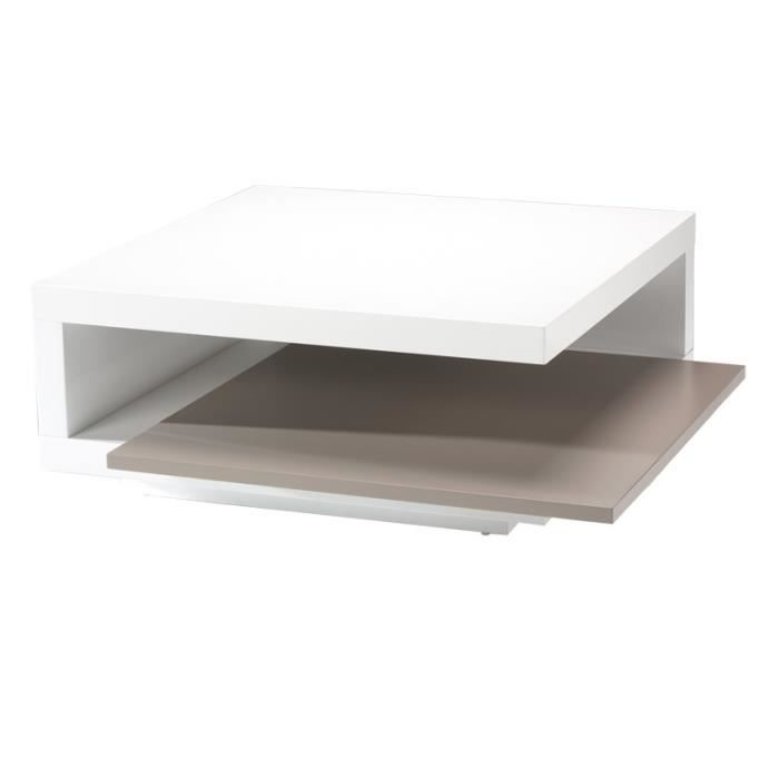 Table basse carr e blanc gris carry achat vente for Table basse carree blanc laquee