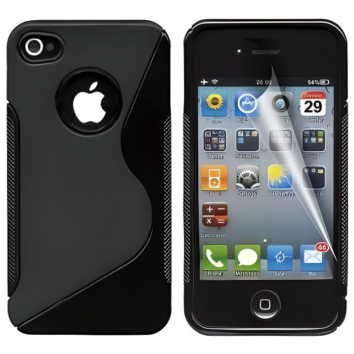 coque iphone 4 4s protection minigel s line noir film. Black Bedroom Furniture Sets. Home Design Ideas