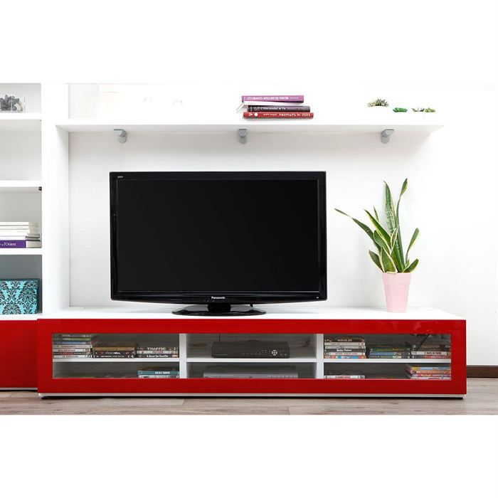 meuble tv design lumineux blanc et rouge laqu achat vente meuble tv meuble tv design. Black Bedroom Furniture Sets. Home Design Ideas