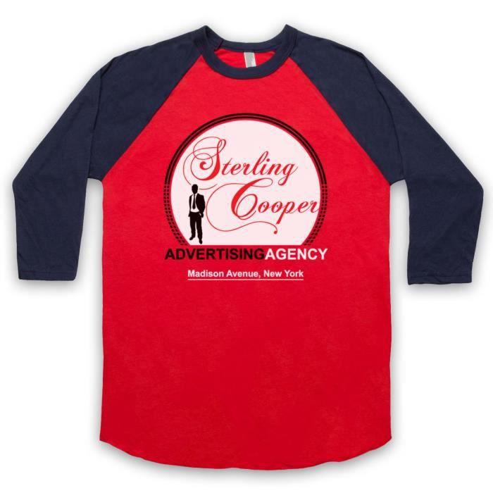 Mad Men Sterling Cooper 3-4 Manches Retro T-Shi... Rouge & bleu fince ...