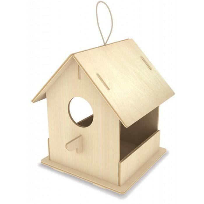 MANGEOIRE - TRÉMIE Maison à oiseaux avec mangeoire - A monter - 9 piè