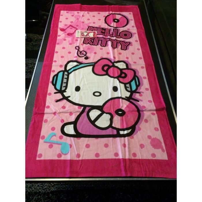 serviette de plage enfant hello kitty achat vente. Black Bedroom Furniture Sets. Home Design Ideas