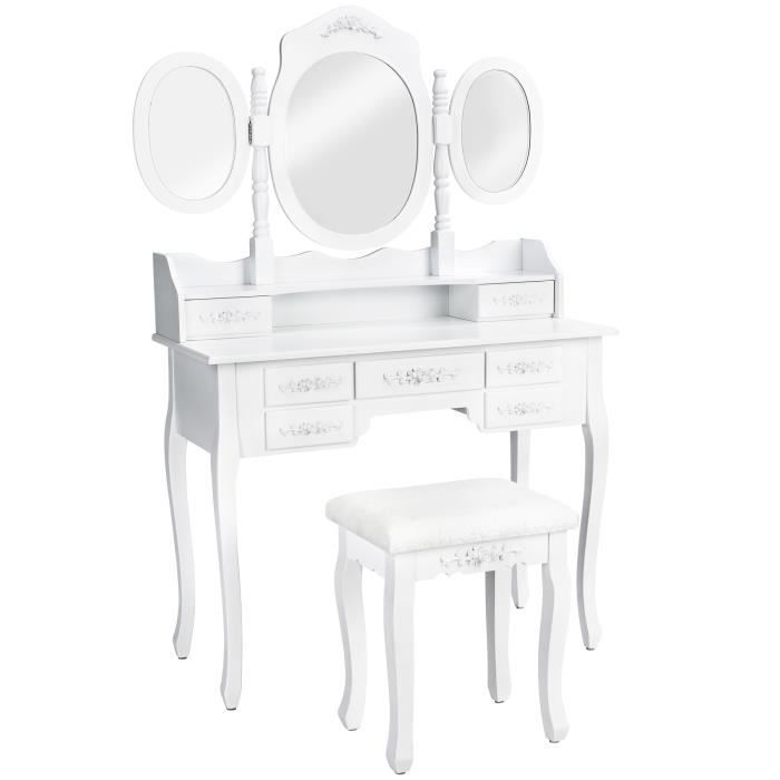 COIFFEUSE TECTAKE Coiffeuse Table de Maquillage Commode avec