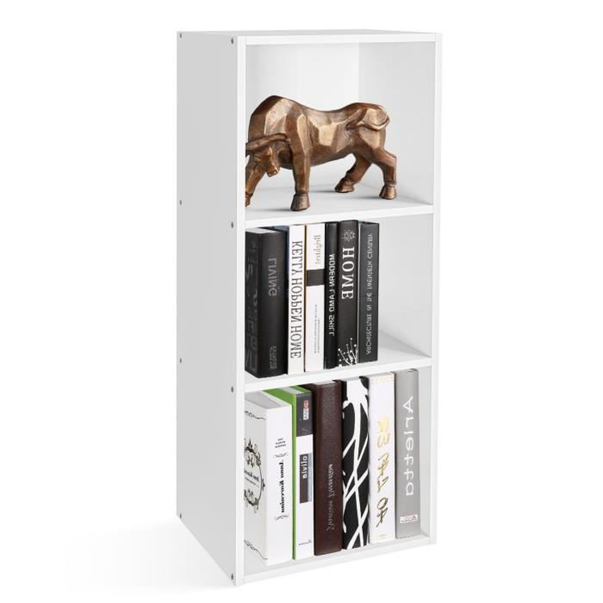 Homfa /Étag/ère Biblioth/èque Armoire Etag/ère de Rangement pour Livres Bureau Salon Blanc, Quatre Niveaux