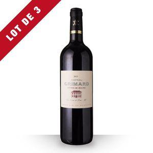VIN ROUGE 3X Château Grimard 2015 Rouge 75cl AOC Côtes de Bo