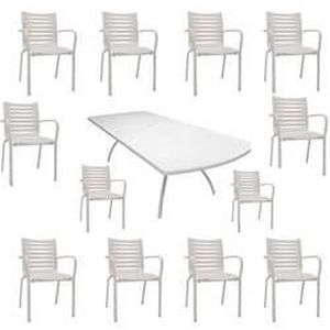 Salon Floris blanc : 1 table + 12 fauteuils - Achat / Vente salon de ...