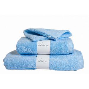 SERVIETTES DE BAIN Drap de bain 100x150 Bleu Ciel DOUCEUR 600gr