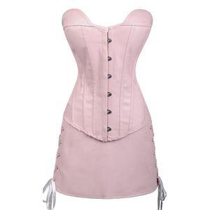 BUSTIER - CORSET Ensemble corset et jupe imitation cuir rose avec z