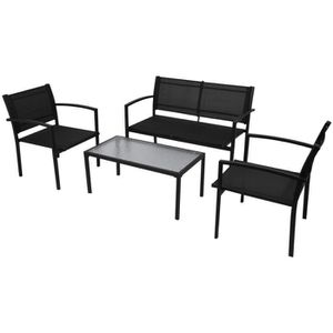 SALON DE JARDIN  Jeu de meuble de jardin 4 pcs Ensemble table chais