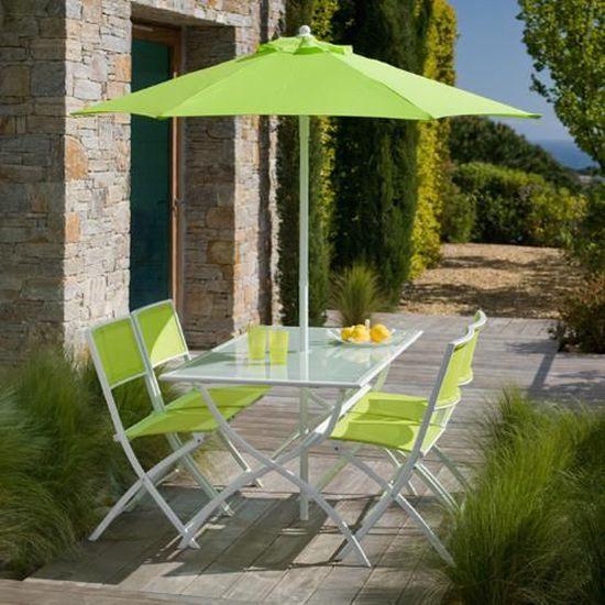 Salon de jardin vert anis avec parasol offert
