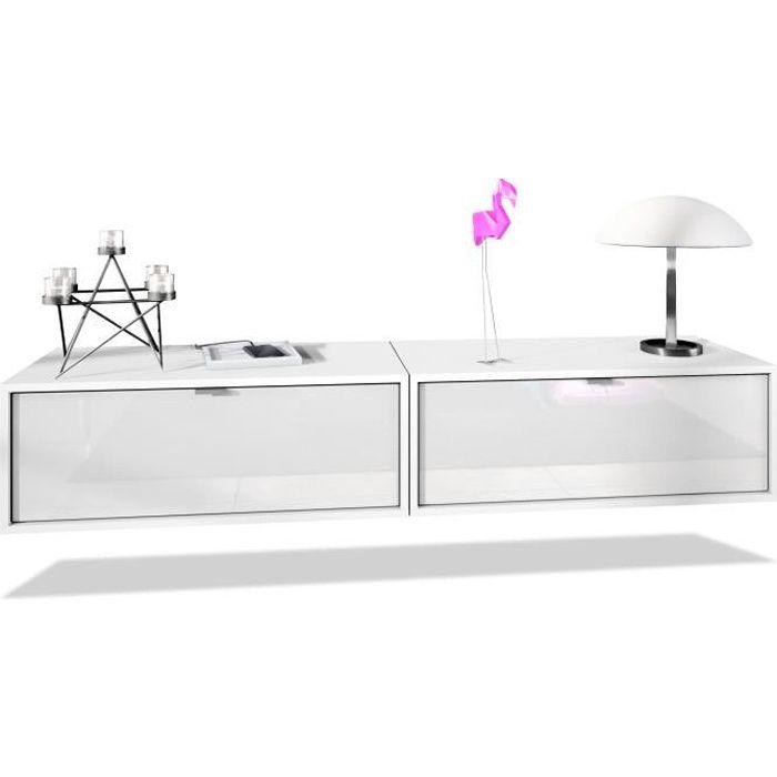 Ensemble de 2 set meuble TV Lana 80 armoire murale lowboard 80 x 29 x 37 cm, caisson en blanc mat, façades en Blanc haute brillance