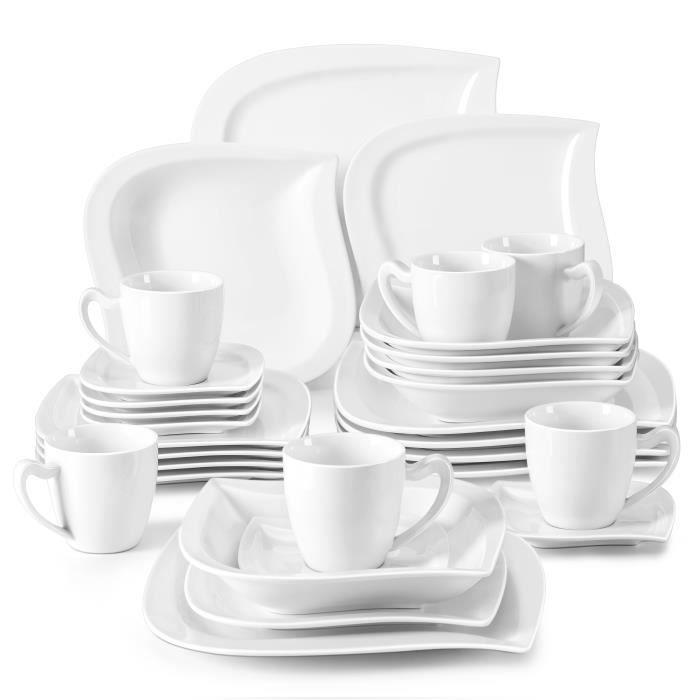 Malacasa Série Elvira Porcelaine 30pcs Service de Table 6 Tasses à Café 6 Sous-tasse 6 Assiette à Dessert 6 Creuses 6 Plates