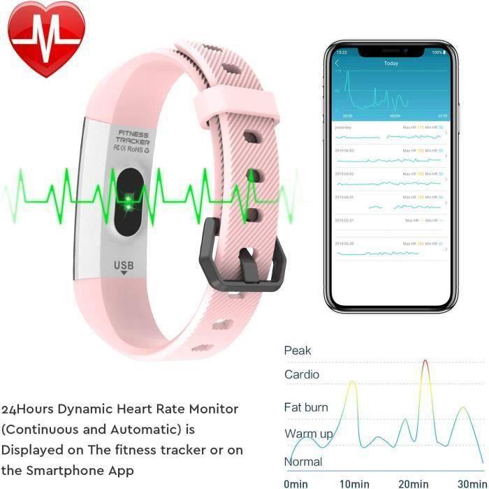Fitness Tracker, étanche Tracker d'activité Moniteur de Sommeil, Moniteur de fréquence Cardiaque, Compteur, Compteur de Calories, Br