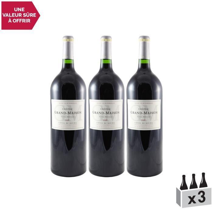 Château Grand-Maison Cuvée Sélection MAGNUM Rouge 2009 - Lot de 3x75cl - Appellation AOC Côtes de Bourg - Vin Rouge de Bordeaux -