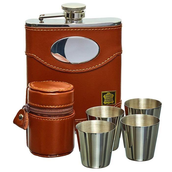 Gentlemans Gifts Online Flasque à alcool, coffret cadeau flasque Whisky 170 ml en cuir Espagnol et acier inoxydable avec plaque p