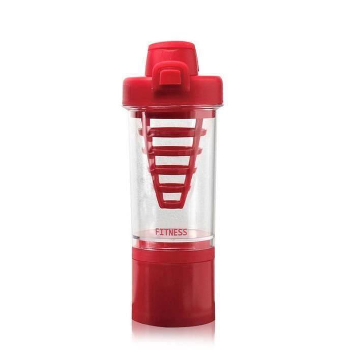 Bouteille pour sport Mélangeur Protein Shaker 500ml Rouge @R7
