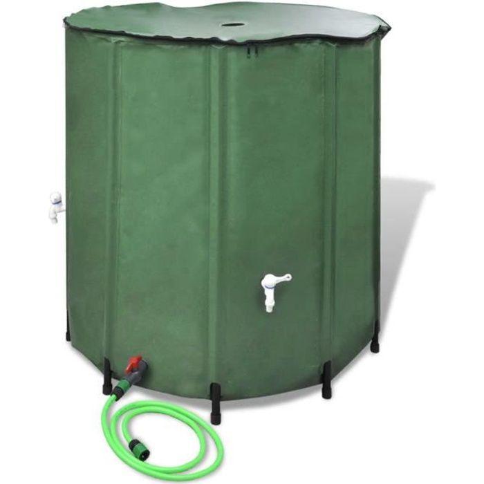 Réservoir d'eau de pluie pliable 750 L Récupérateur d'eau de pluie Collecteur d'eau de pluie
