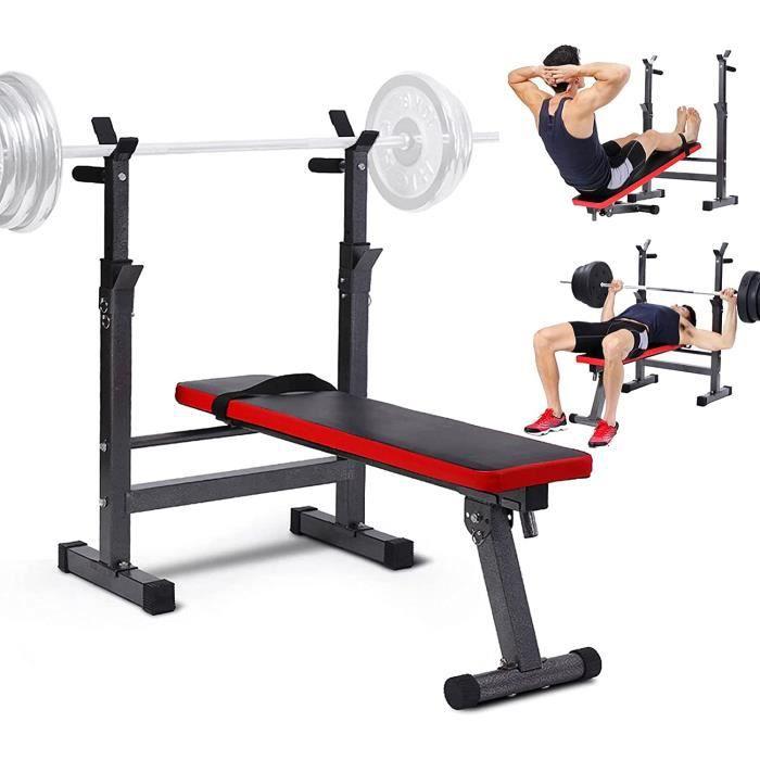 Banc de Musculation avec Support de Barres pour Haltère- pour Développé Couché et Entraînement des Triceps- Sit-ups[568]