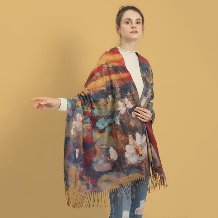Echarpe,Écharpe en cachemire de peinture à l'huile Van Gogh pour femme,châle en laine imprimé,Cape - Type C20 - L190cm W70cm