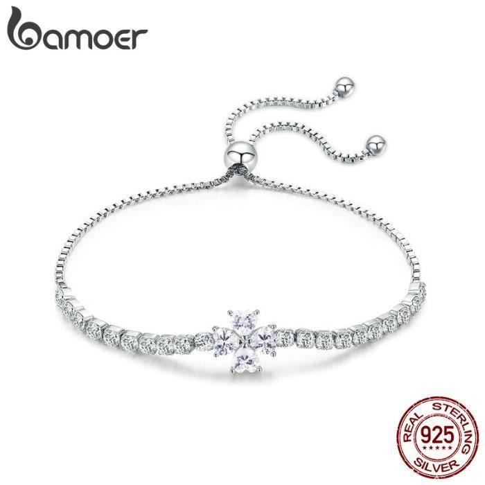 Bracelet Gourmette 20 cm orné de SWAROVSKI ELEMENTS Argent S925 Zircon de qualité AAA Femmes De Mariage Bijoux Cadeau BSB007