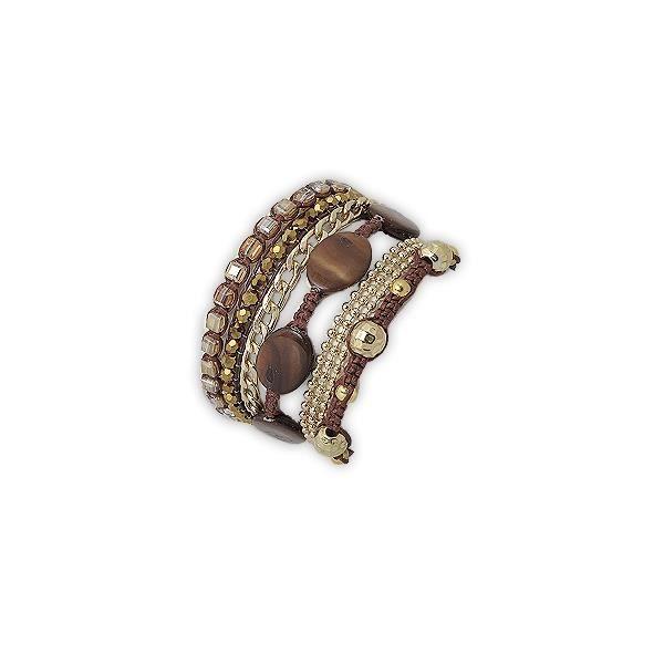 Bracelet Perles Nacre Ocre
