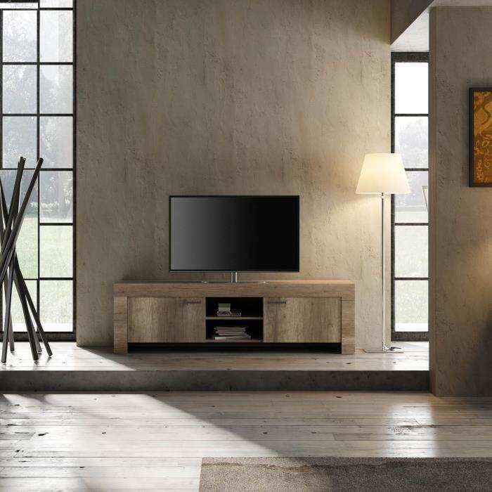 Meuble TV - Vintage - Panneaux de particules - Décor Chêne Canyon - L 180 x P 43 x H 53 cm - BRERA