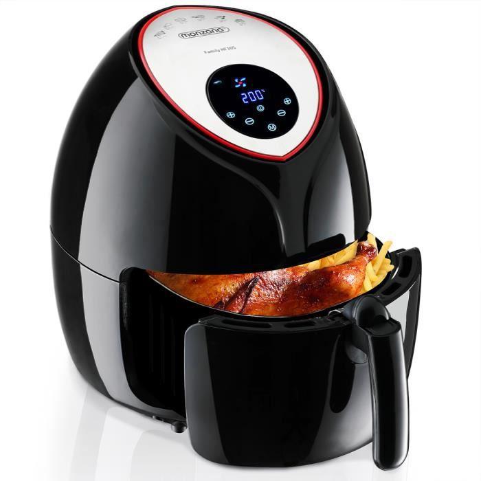 Friteuse électrique à air chaud 9 en 1 sans huile 6,5 L noir 1850W écran digital et livret recette cuisine