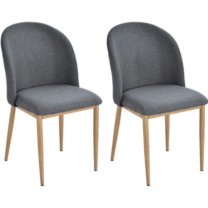 Lot de 2 chaises salon design scandinave dim. 50L x 58l x 85H cm lin gris métal imitation bois 50x58x85cm Gris