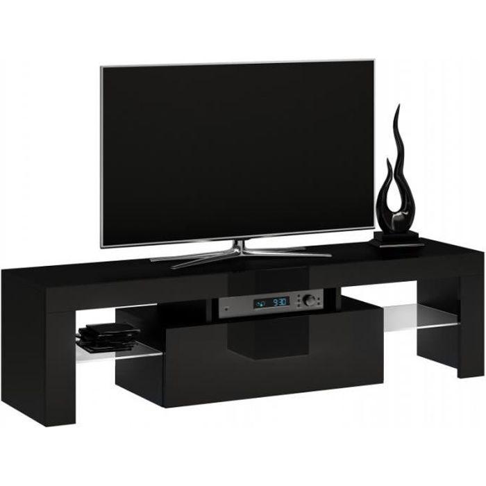 ROSALIE - Meuble TV moderne étagères en verre - 45x140x40 - Rangement matériel audio-vidéo - Noir